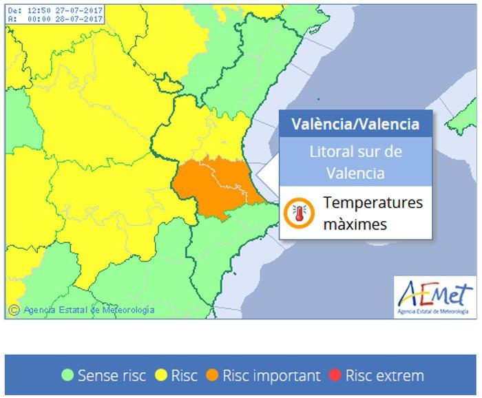 Avís taronja per altes temperatures i risc extrem d'incendis forestals
