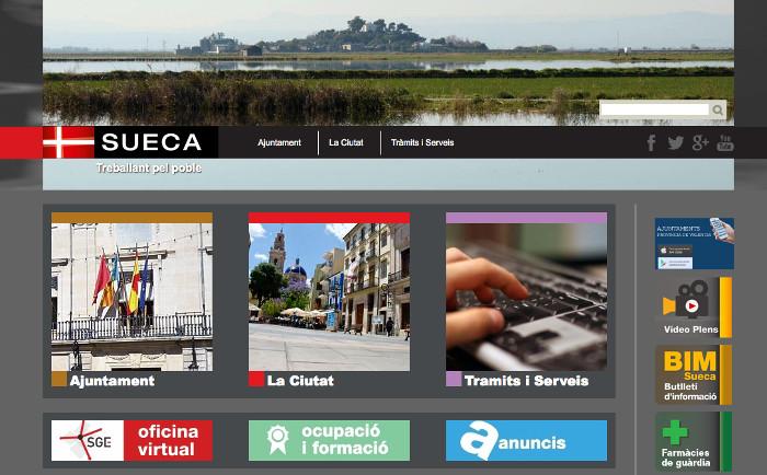 La web de l'Ajuntament de Sueca, a  disposició de les associacions