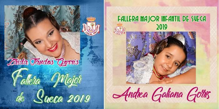 Andrea Galiana Gorris i Zaida Fandós Gorris, elegides Falleres Majors de Sueca 2019