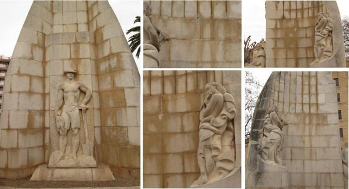 Reclamen a l'ajuntament de Sueca que actue sobre les humitats del monument realitzat per Beltran en homenatge a Serrano