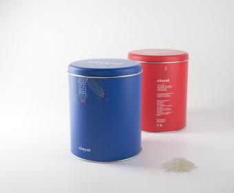 Packaging roig i blau Arròs Cèrcol – Sueca