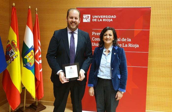 Felicitació al suecà Juan Miguel Ribera pel Premi a la Innovació Docent per la Universitat de La Rioja